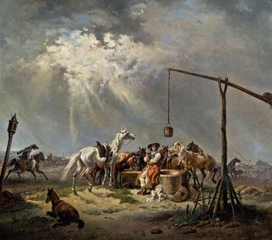 hirte mit pferden in der puszta by johann gualbert raffalt