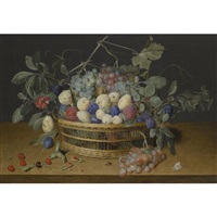 still life with plums, grapes and peaches in a wicker basket, with cherries, hazelnuts, a beetle and a butterfly on the wooden tabletop beneath by jacob van hulsdonck
