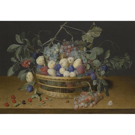 still life with plums grapes and peaches in a wicker basket with cherries hazelnuts a beetle and a butterfly on the wooden tabletop beneath by jacob van hulsdonck
