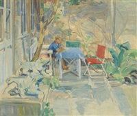 young boy on the front porch by harry bainbridge mccarter