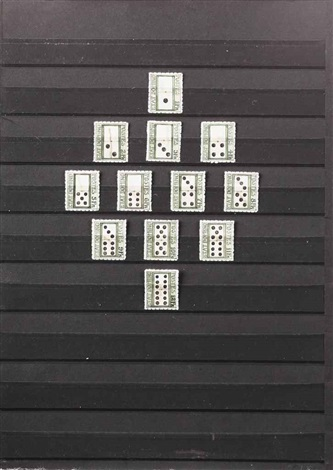 etat domino stamp sheet series set of 12 by donald evans