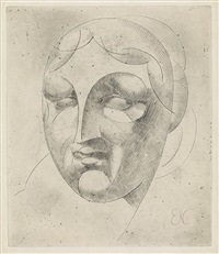 female head (woman's head) (+ the preparatory penciol drawing for the drypoint, 1920; 2 works) by elie nadelman