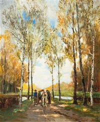 horse drawn cart on a forest path by anthony thieme