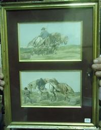 chevaux de trait et chevaux dans les champs (pair) by théodore fort