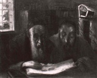 rabbis studying the talmud by maurits de groot
