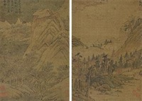 幽居图 (二帧) (2 works) by wen zhengming