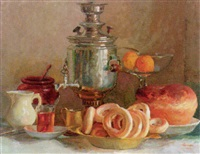 still life with samovar and bread by alexandre sergeyevich samarin