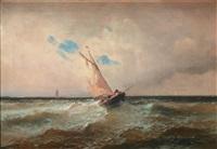 barque de pêche sous le vent dans la houle by alfred godchaux