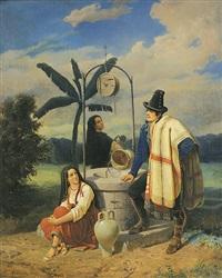 der improvisator am brunnen. rezitator trägt zwei bäuerinnen werke vor by mathias artaria