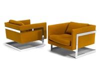 rare variant milo baughman t-back lounge chairs (pair) by milo baughman