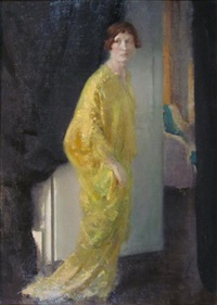 lady in yellow - mrs audrey lintott by henry john lintott