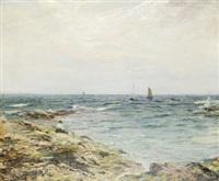 väntan - kustlandskap med båtar och kvinna by george ogilvy reid