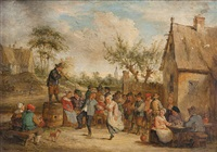 villageois et couple dansant près de l'auberge by david teniers the younger