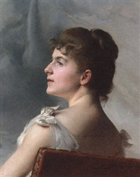 portrait of a lady seated on a chair in a white cocktail dress by paul françois quinsac