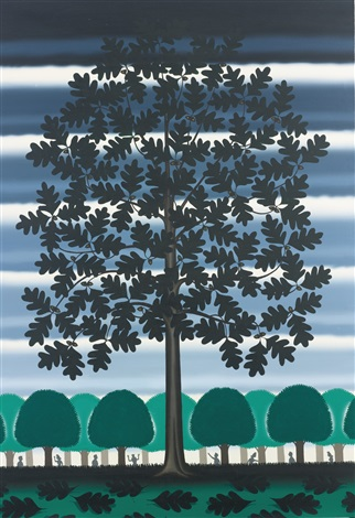 little white oak in a black oak savanna by roger brown