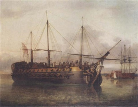 """the """"achella"""" off portsmouth with the """"pomona"""" and the """"modeste"""" by richard livesay"""