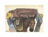 pareja cargando burros by diego rivera