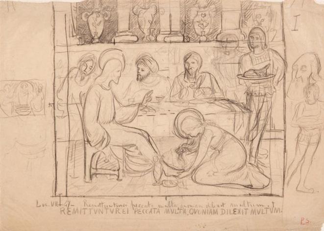 marie madeleine lavant les pieds du christ et reprise des personnages dans la marge by paul sérusier