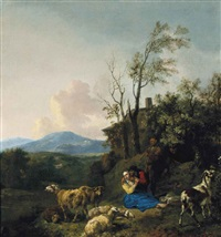 shepherds and their flock in a wooded landscape by hendrick mommers