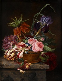 parrot tulips, roses and other flowers in a basket upon a stone ledge by jeanne marie joséphine hellemans