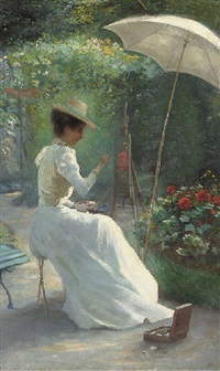 a young lady painting in the garden by ch. endres