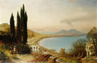 figures on a track with the bay of naples beyond by albert arnz