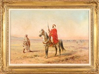 bedouin on horseback by oliver pichat