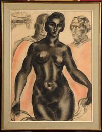 femme nue entourée d'hommes by jean vervisch