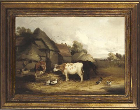 animals at a trough in a farmyard by henry charles bryant