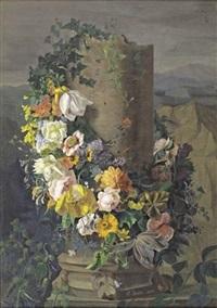 guirlande de fleurs entourant une colonne (on 2 sheets) by simon saint-jean