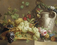 red and white grapes, a melon, red currants and peaches in a wicker basket with a stone vase surrounded by a floral garland, all on a stone ledge by pieter faes