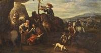 sosta in un accampamento (+ cavalieri e armamenti; pair) by cornelis de wael