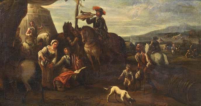 sosta in un accampamento cavalieri e armamenti pair by cornelis de wael