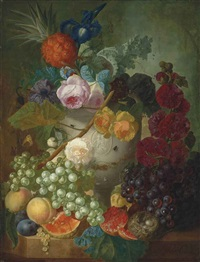 peonies, roses an iris and other flowers in a vase with putti, with a bird's nest and peaches, a pineapple, a pomegranate, grapes and other fruit on a stone ledge by jan van os
