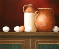 stone jar, terracotta jug & eggs by paul kavanagh