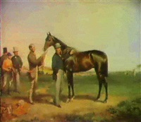 'mr. freshman' with his owner, the hon. charles talbot,   being held by his groom, a jockey and two gentleman beyond by william riviere