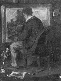 autoportrait de l'artiste (?) à son chevalet by clément-auguste andrieux
