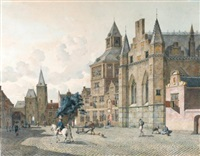 capriccio view of a dutch town square by johannes huibert (hendric) prins