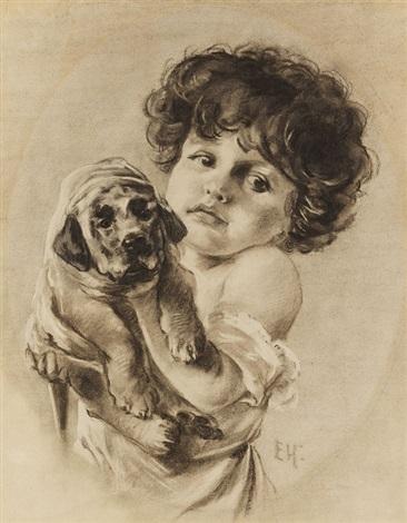 kind mit hündchen im arm by emil nolde
