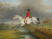 a master of the royal buckhounds clearing a fence on a grey hunter by george henry laporte
