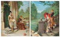 femmes à l'ombrelle et au chien et femmes au chien et à l'enfant (pair) by jules maurice le natur