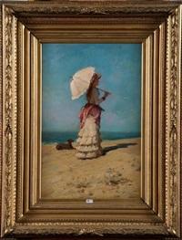 elégante à l'ombrelle sur la plage by eugène verdyen