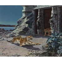 tigers at a temple entrance by e. baily hilda