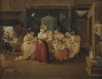 a group of spinsters in an interior by johanes baptiste pflug