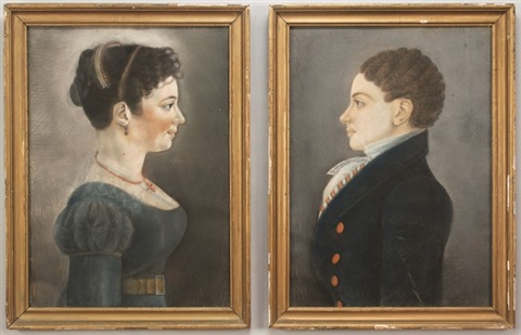 untitled (a man with curly black hair in dark blue coat with coral colored buttons) (+ untitled (young woman in blue dress with coral necklace...); pair) by american school-louisiana (19)