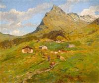 sommerliche bergpartie mit bäuerin by gioachimo galbusera