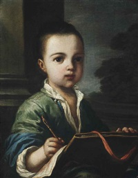 portrait of a boy, half-length, a chalk pen in his right hand, a landscape beyond by antonio mercurio amorosi