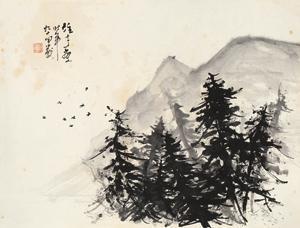 归鸟 landscape by li xiongcai