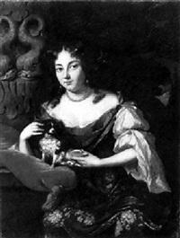 portrait of a lady with a dog by aleijda wolfsen