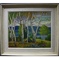 autumn landscape - birches and lake by frederick stanley haines
